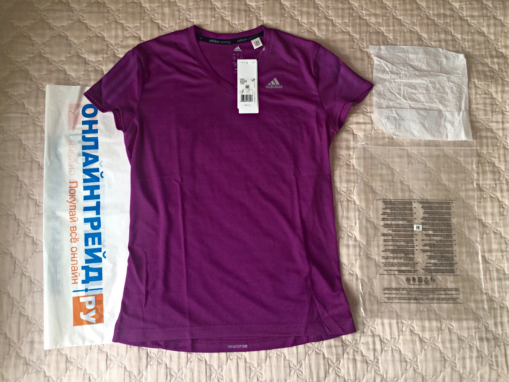 967cd390 Обзор на женскую футболку ADIDAS RS SS Tee W (AX6580), цвет Shock Purple