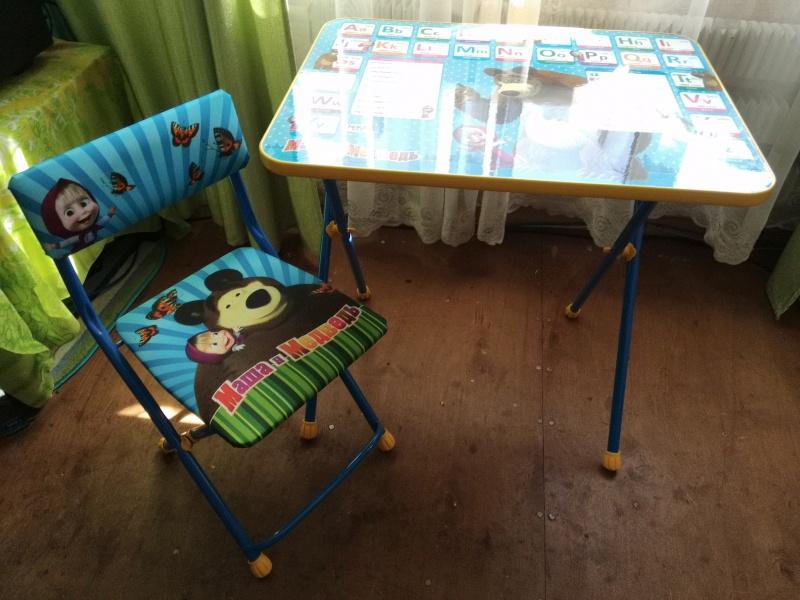 набор детской мебели ника познайка стол стул маша и медведь азбука