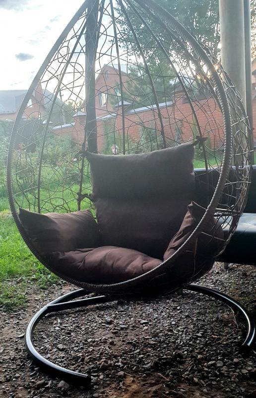 Подвесное кресло LAURA SEVILLA горячий шоколад + бежевая подушка