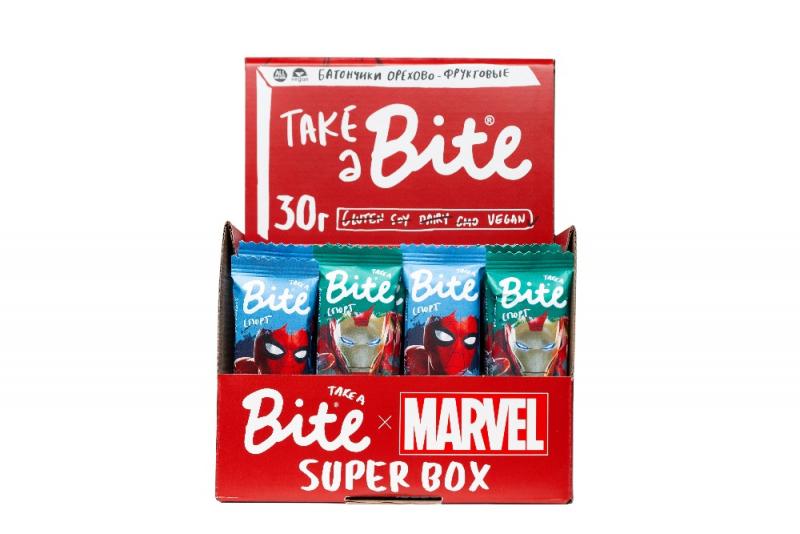 Батончики Take a Bite Marvel Арахис-Банан (Спорт), 30 гр. (3