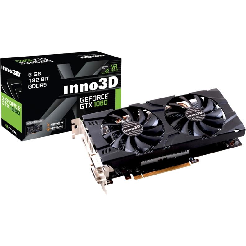 Видеокарта INNO3D GeForce GTX 1060 1506Mhz PCI-E 3 0 6144Mb 8000Mhz 192 bit  DVI HDMI DisplayPort (N106F-5SDN-N5GS)