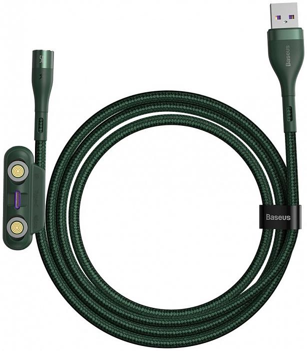 Кабель Baseus Zinc Magnetic Safe Fast Charging Data Cable USB to M+L+C 5A 1m Зеленый CA1T3-B06 - купить по выгодной цене в интернет-магазине ОНЛАЙН ТРЕЙД.РУ Новосибирск