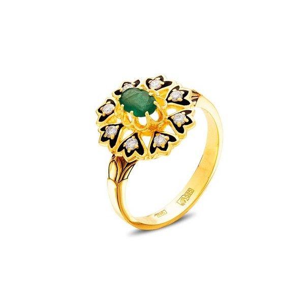 5b99b0544e06 Кольцо золотое с бриллиантами, изумрудом, эмалью 18500163-20, размер ...