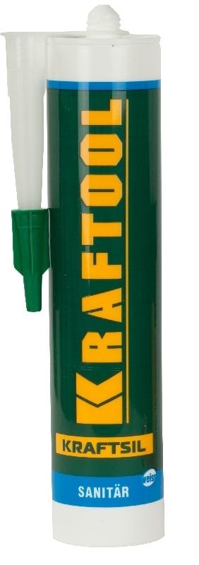 Герметик силиконовый санитарный KRAFTOOL 41255-0 для помещений с повышенной влажностью, силиконовый, белый, 300 мл. — купить в интернет-магазине ОНЛАЙН ТРЕЙД.РУ