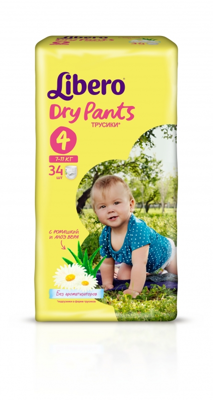 6357fc3f6222 Трусики Libero Dry Pants (Либеро Драй Пэнтс) 4 Maxi (7-11 кг), 34 шт ...