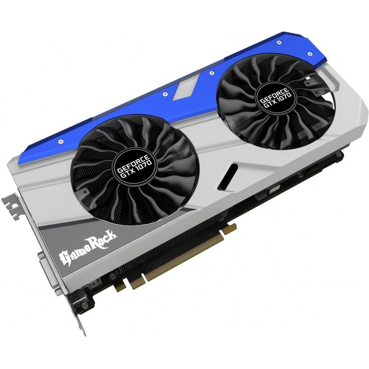 Видеокарта Palit GeForce GTX 1070 1556Mhz PCI-E 3 0 8192Mb 8000Mhz 256 bit  DVI HDMI HDCP GameRock (NE51070T15P2-1041G)