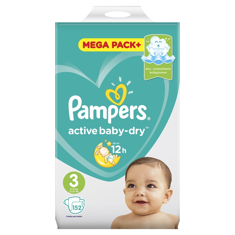 9d1c917a4123 Подгузники Pampers Active Baby-Dry 3 (6-10 кг ), 152 шт. — купить в ...