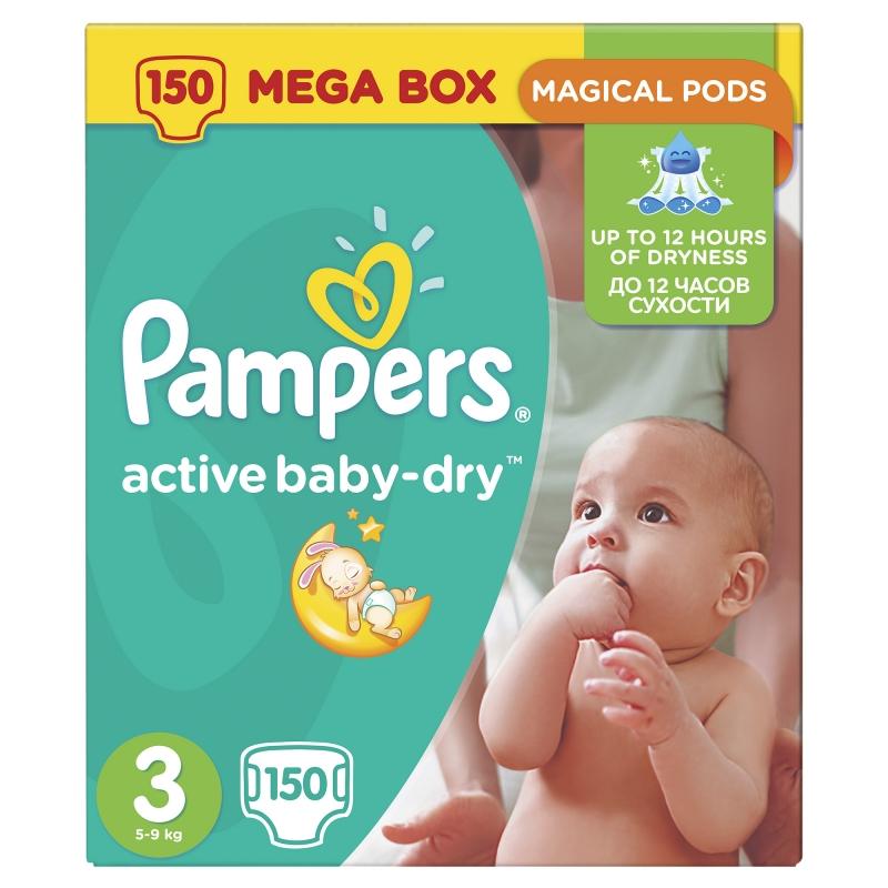 Подгузники Pampers Active Baby-Dry (Памперс Эктив Бэйби) 3 Midi (5-9 кг),  150 шт. ec853384753