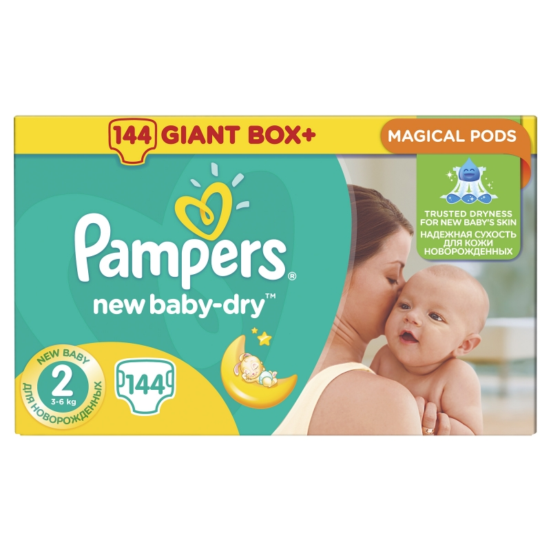 Подгузники Pampers New Baby-Dry (Памперс Нью Бэби) 2 Mini (3-6 кг), 144 шт. f9e085e95dd