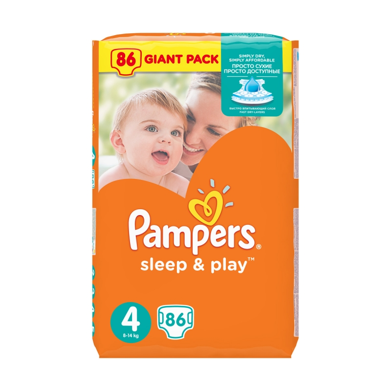 Подгузники PAMPERS Sleep   Play (Памперс Слип Энд Плей) 4 Maxi (8-14 кг),  86 шт. 8ade389909a