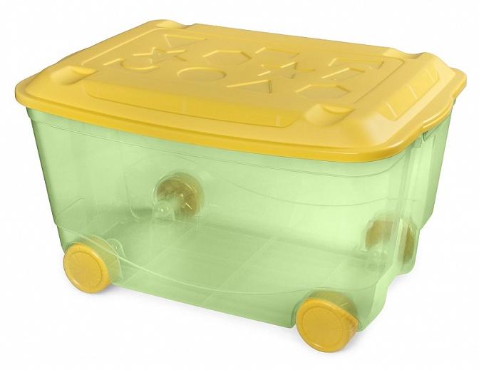 Ящик для игрушек ПЛАСТИШКА на колесах 580х390х335 мм, зелёный — купить в интернет-магазине ОНЛАЙН ТРЕЙД.РУ