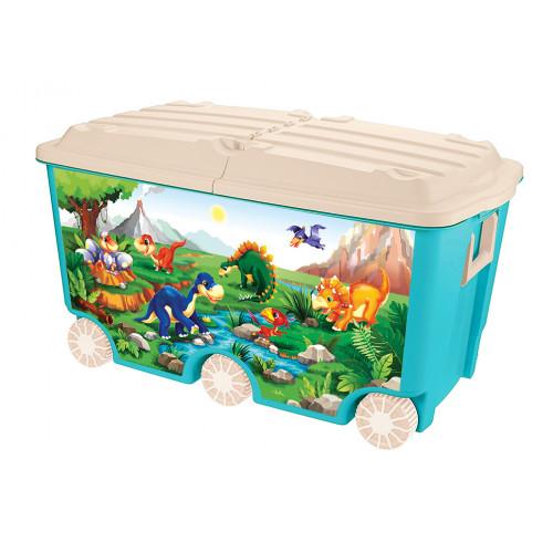 Ящик для игрушек ПЛАСТИШКА на колесах с декором, 66,5л, 685х395х385 мм, голубой — купить в интернет-магазине ОНЛАЙН ТРЕЙД.РУ