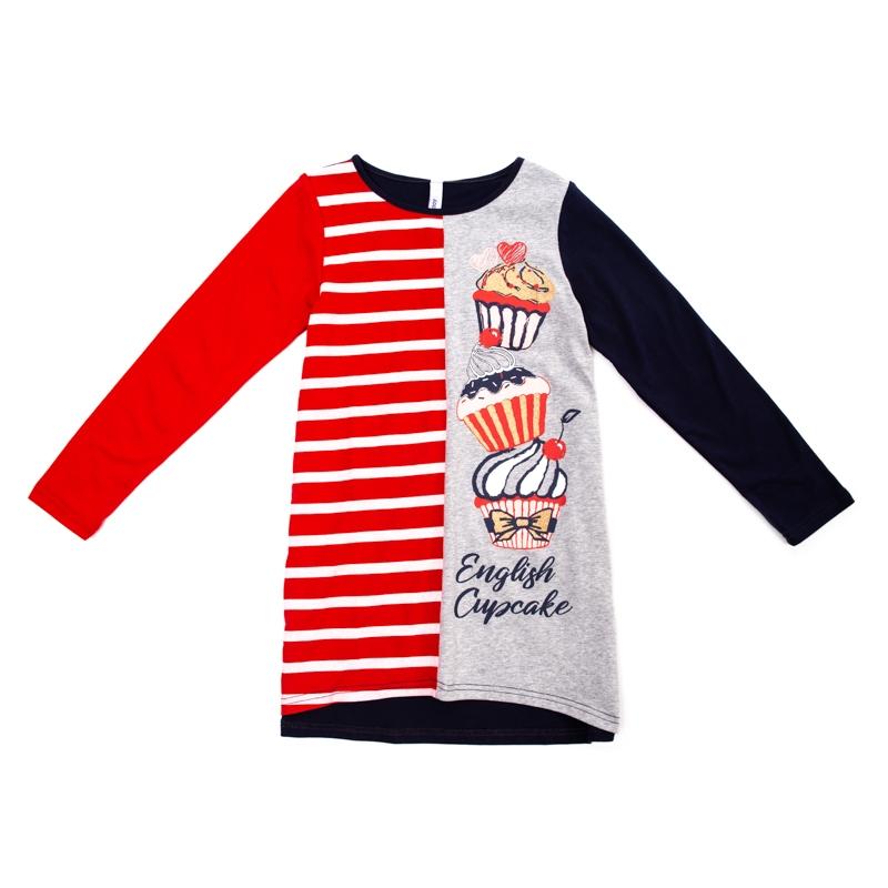 626f381812b17f3 Платье PLAYTODAY 382078 для девочек, цвет темно-синий/красный/серый, размер