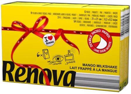 Платочки бумажные Renova Red Label Mango Yellow, 6 пачек по 10 листов — купить в интернет-магазине ОНЛАЙН ТРЕЙД.РУ
