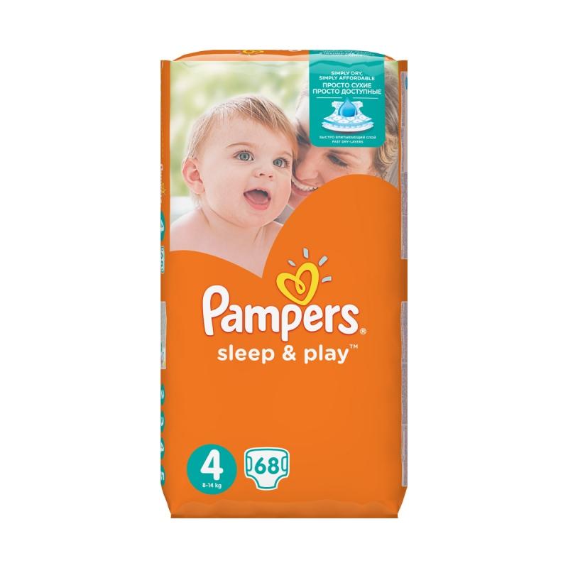 70c65069f3b3 Подгузники PAMPERS Sleep   Play (Памперс Слип Энд Плей) 4 Maxi (8-14 кг),  68 шт. Код товара  107166. - купить в интернет магазине с доставкой, цены,  ...