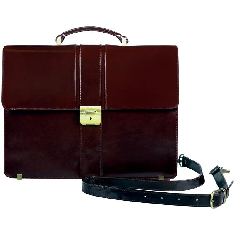 a0dddc5b4363 Портфель Delucci Гиперион, кожа, темный коньяк, 2 отделения Изображение 1 -  купить в