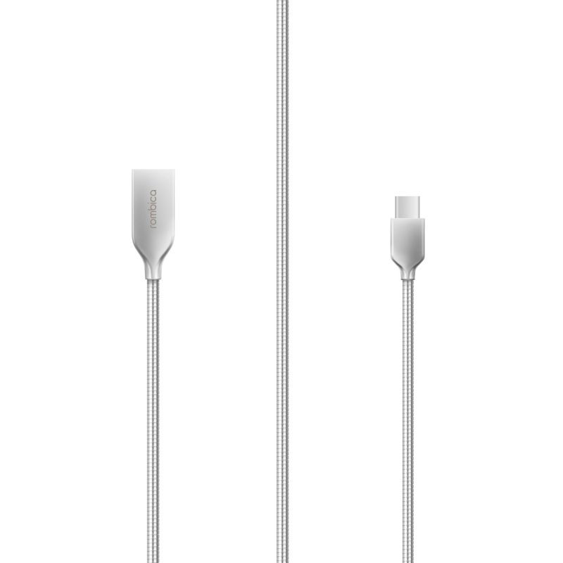 Кабель Rombica DIGITAL CS-10 USB - USB Type-C, алюминий/алюминий, 1м,  серебристый