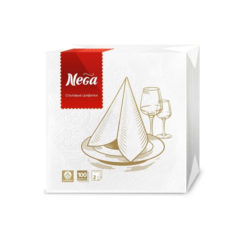 Салфетки бумажные Nega 24x24 см белые 2-слойные 100 штук в упаковке — купить в интернет-магазине ОНЛАЙН ТРЕЙД.РУ