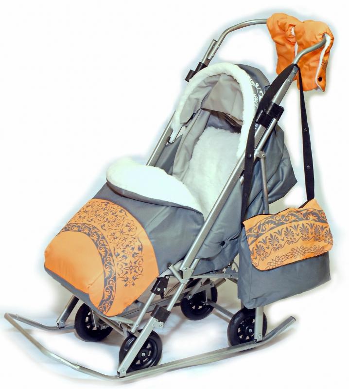 санки коляска sofi luxury оранжевые пики