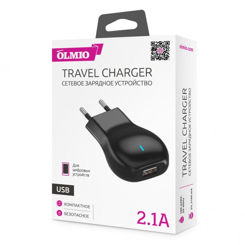 Сетевое ЗУ Olmio USB, 2.1А - Изображение 2