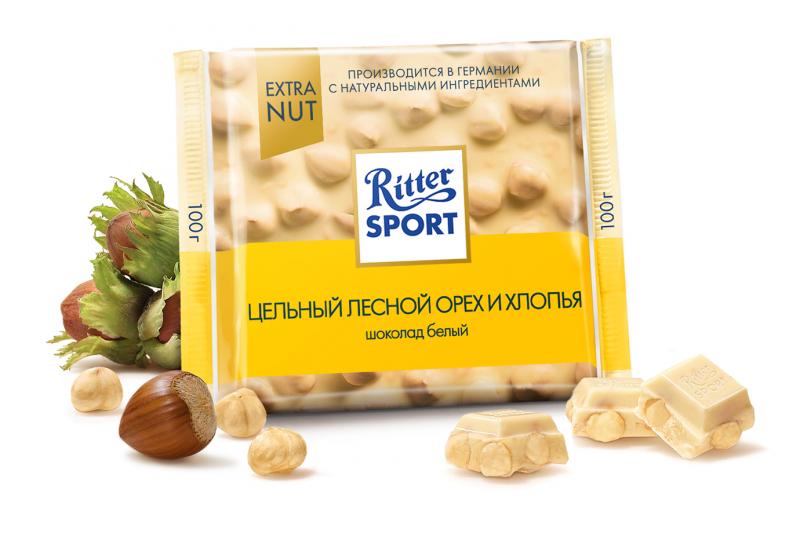 Шоколад Ritter Sport Extra Nut белый ЛЕСНОЙ ОРЕХ И ХЛОПЬЯ, 100 гр. — купить в интернет-магазине ОНЛАЙН ТРЕЙД.РУ