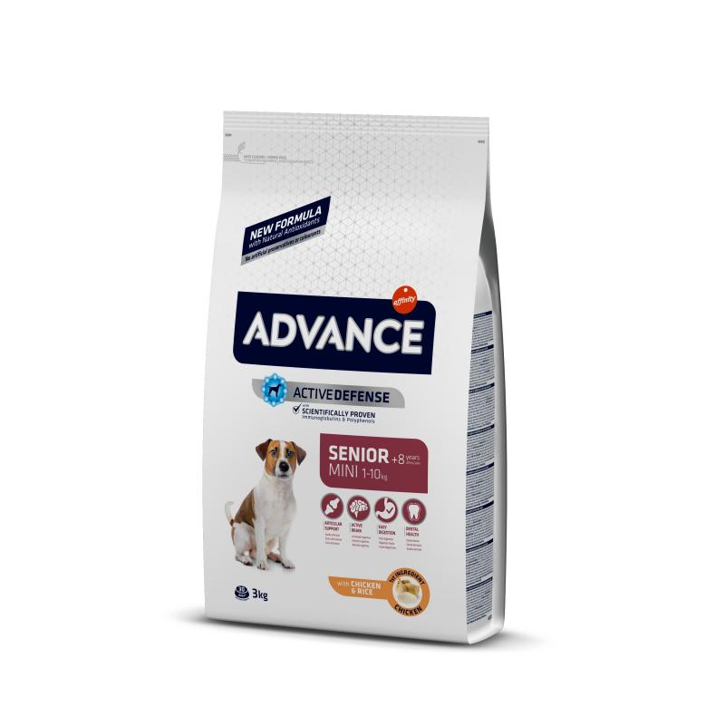Сухой корм Advance Mini Senior, для пожилых собак малых пород, курица и рис, 3 кг — купить в интернет-магазине ОНЛАЙН ТРЕЙД.РУ
