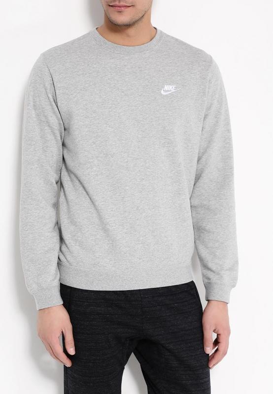 b93d42aa Свитшот NIKE 804342-063 Sportswear Crew мужской, цвет серый, размер ...