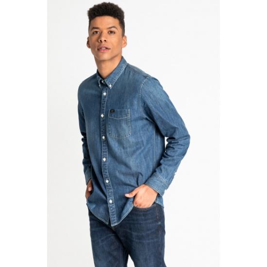 Рубашка джинсовая LEE L880PLMO LEE BUTTON DOWN мужская, цвет синий, размер S L880PLMO/S - низкая цена, доставка или самовывоз по Нижнему Новгороду. Рубашка джинсовая LEE L880PLMO LEE BUTTON DOWN мужская, цвет синий, размер S купить в интернет магазине ОНЛАЙН ТРЕЙД.РУ