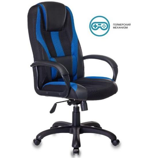 Кресло руководителя Бюрократ VIKING-9/BL+BLUE черный/синий искусст.кожа/ткань — купить в интернет-магазине ОНЛАЙН ТРЕЙД.РУ