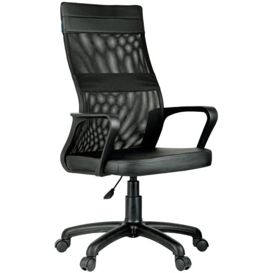 Кресло для персонала Helmi HL-M65 Sigma, экокожа/ткань сетка, черная, пиастра — купить в интернет-магазине ОНЛАЙН ТРЕЙД.РУ