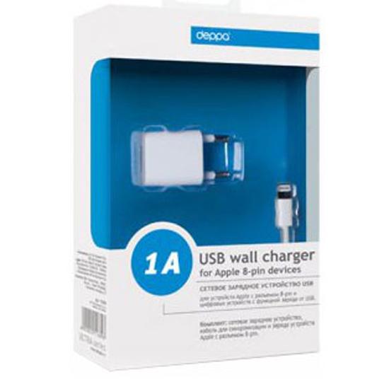сетевое зарядное устройство Deppa 11305 Ultra Usb 1 а для Iphone 5ipad Mini 8 Pin белый 11305