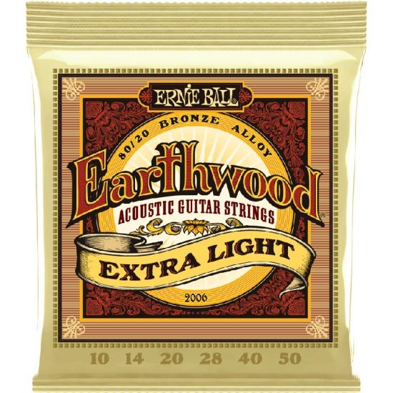 Струны для акустической гитары ERNIE BALL Earthwood 80/20 Bronze Extra Light (10-14-20w-28-40-50), P02006 — купить в интернет-магазине ОНЛАЙН ТРЕЙД.РУ