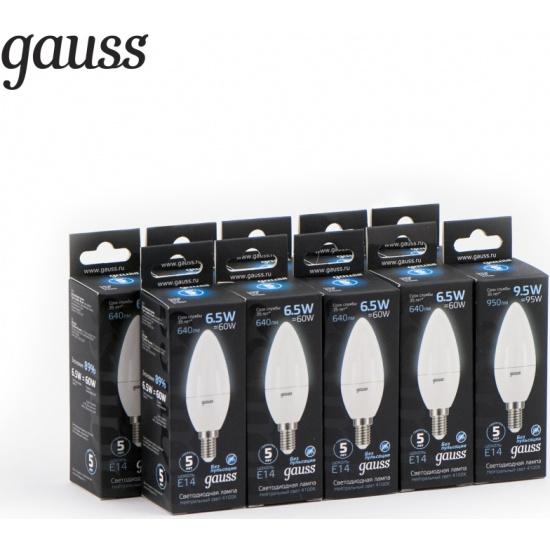 Светодиодная лампа Gauss LED Candle E14 6.5W 100-240V 4100К (упаковка 10 шт) 103101207 (10шт) - низкая цена, доставка или самовывоз по Твери. Светодиодная лампа Гаусс LED Candle E14 6.5W 100-240V 4100К (упаковка 10 шт) купить в интернет магазине ОНЛАЙН ТРЕЙД.РУ.