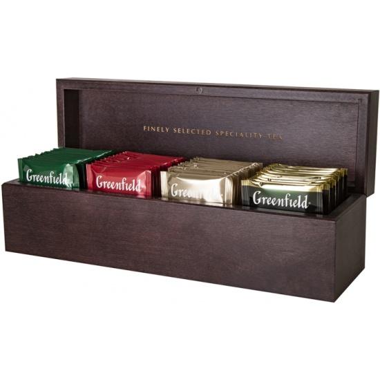 Набор чая GREENFIELD Коллекция в деревянной шкатулке, пакетированный, 4 вида, 32 шт — купить в интернет-магазине ОНЛАЙН ТРЕЙД.РУ