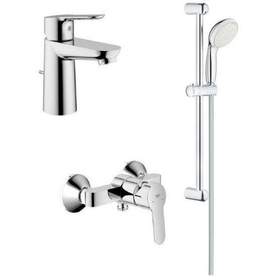 Набор для ванны GROHE BauEdge: смеситель для раковины, смеситель для душа, душевой гарнитур (122277)