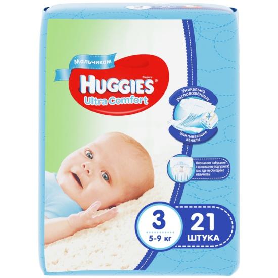 Подгузники Huggies (Хаггис) Ultra Comfort для мальчиков 3 (5-9 кг) ... 08f1524174f