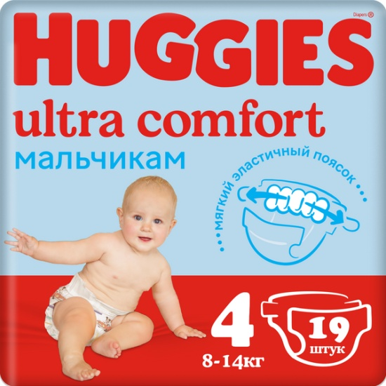 d35afc775d6f Подгузники Huggies (Хаггис) Ultra Comfort для мальчиков 4 (8-14 кг) ...