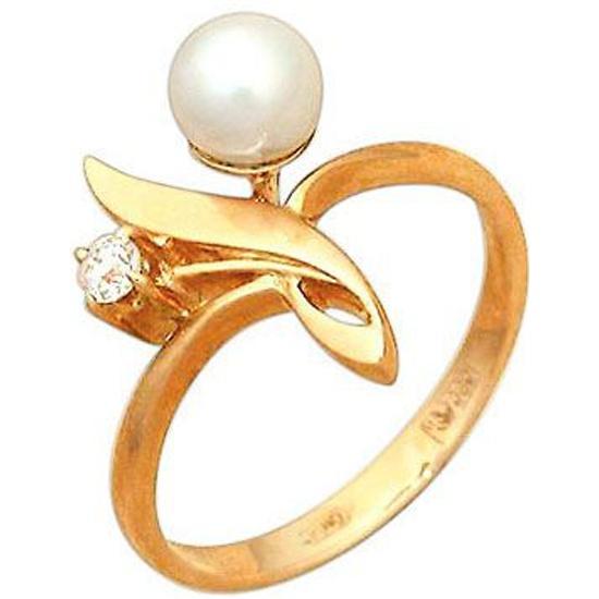 cc6bf7bc07eb Кольцо золотое с жемчугом и фианитом 12400002, размер 16 - купить в  интернет магазине с