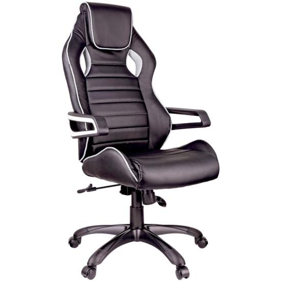 Кресло геймерское Helmi HL-S03 Drift, экокожа черная, вставка ткань серая — купить в интернет-магазине ОНЛАЙН ТРЕЙД.РУ