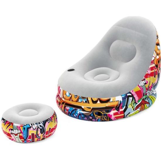 Кресло надувное Bestway 75076 Graffiti Comfort Cruiser, 121x100x86 см, с пуфиком 75076/Bestway - купить по выгодной цене в интернет-магазине ОНЛАЙН ТРЕЙД.РУ Пенза