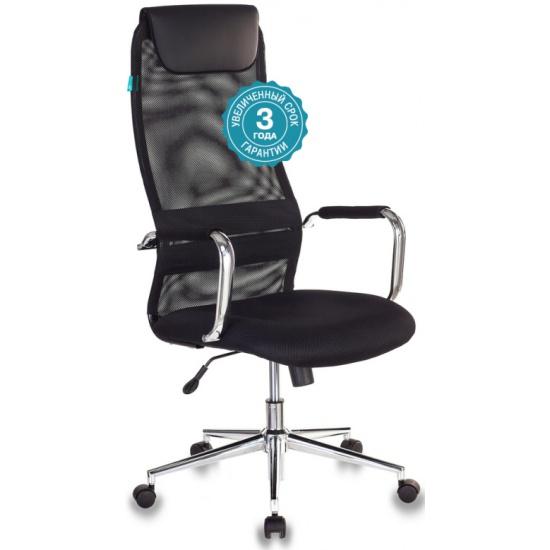 Кресло руководителя Бюрократ KB-9N/BLACK черный TW-01 TW-11 сетка крестовина хром- купить по выгодной цене в интернет-магазине ОНЛАЙН ТРЕЙД.РУ Уфа