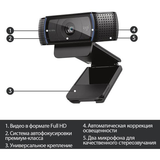 Веб-камера Logitech HD Pro Webcam C920 (960-001055)- низкая цена, доставка или самовывоз по Челябинску. Веб-камера Лоджитек HD Pro Webcam C920 (960-001055) купить в интернет магазине ОНЛАЙН ТРЕЙД.РУ