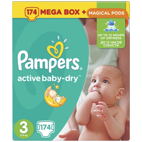 3d00f15bea62 Подгузники Pampers Active Baby-Dry (Памперс Эктив Бэйби) 3 Midi (5-9 ...