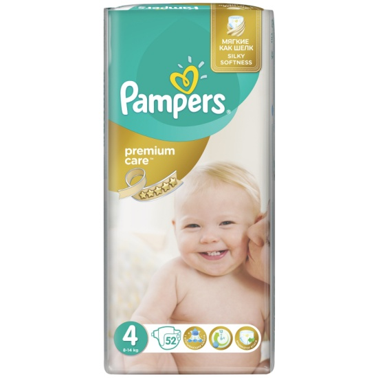 Подгузники Pampers Premium Care (Памперс Премиум Кэа) 4 Maxi (8-14 кг), 52  шт. bd659b03ef0