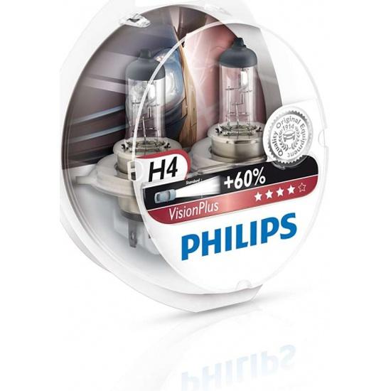 Лампа галогенная PHILIPS H4 VisionPlus 12V 60/55W, 2 шт, 12342VPS2 - купить в интернет магазине с доставкой, цены, описание, характеристики, отзывы