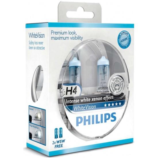 Лампа галогенная PHILIPS H4 White Vision 3700K 12V 60/55W + W5W 12V 5W, по 2 шт, 12342WHVSM - купить в интернет магазине с доставкой, цены, описание, характеристики, отзывы