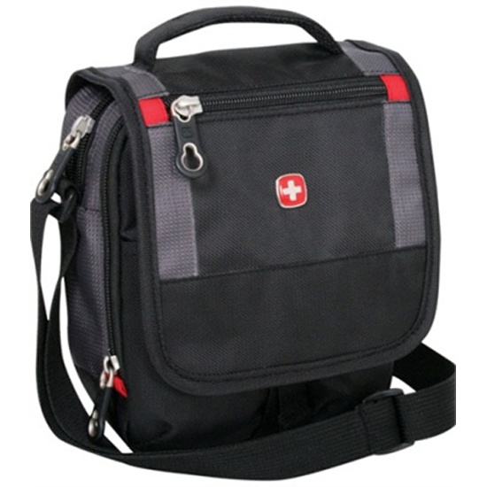 Сумка мужская через плечо WENGER 1092239 MINI BOARDING BAG, черный серый fbd839b7c0e