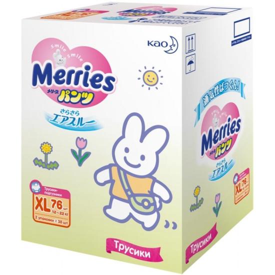 Трусики-подгузники MERRIES XL (12-22 кг), 76 шт — купить в интернет ... 2e0b1840924