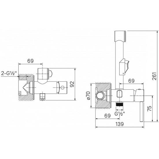 Встраиваемый смеситель с гигиеническим душем IDDIS 003SBR0i08 Изображение 2 - купить в интернет магазине с доставкой, цены, описание, характеристики, отзывы