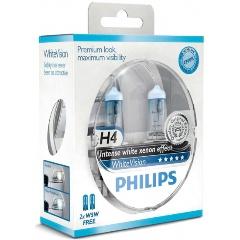 Лампа галогенная PHILIPS H4 White Vision 3700K 12V 60/55W + W5W 12V 5W, по 2 шт, 12342WHVSM Изображение 1 - купить в интернет магазине с доставкой, цены, описание, характеристики, отзывы